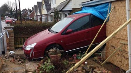 The car which reversed into a bungalow in Garden Close, Royston