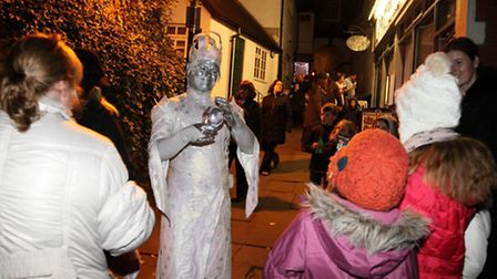One of the ice walkers at the Christmas market launch