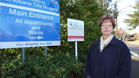 Cllr Roma Mills stands outside St Albans Hospital which has closed it's hydrotherapy pool