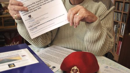 Les Palmer, at his home in St Neots, is petition co-ocrdinator for Suez Veterans Association