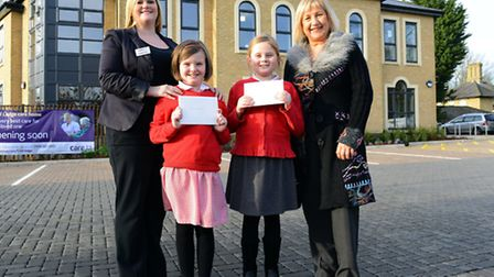 Prize-winners Jessica Walter and Alana Bird pictured with clinical lead at the new Field Lodge care