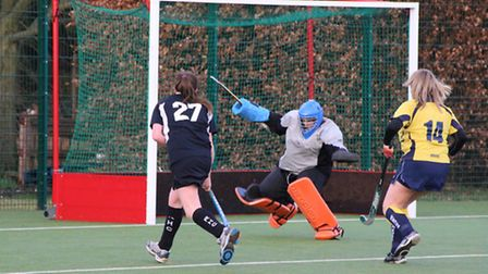 Heidi Whittaker (27) scored a hat-trick for the women's 2nd team.