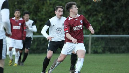 Matt Taylor in action for Potters Bar against Royston. Picture: Danny Loo