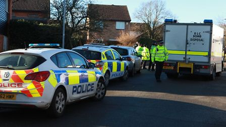Police and a bomb disposal unit at the scene on Saturday. Photo - Craig Shepheard