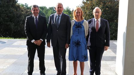 L-R: Diplomatic colleagues Stavros Lambrinidis, Kim Darroch, Emily Haber and Philippe Etienne in a p