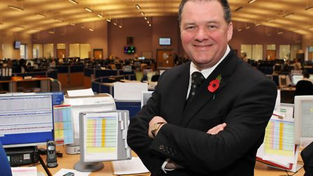 Hertfordshire PCC David Lloyd in the Force Communications Room at the Police Headquarters