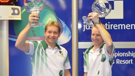 Greg Harlow and Nick Brett with their World doubles trophies.