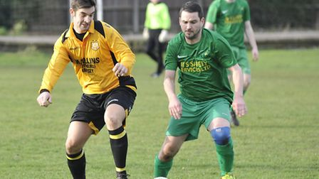 Action from Ramsey Town v Great Paxton in the Scott Gatty Cup. Picture: Helen Drake