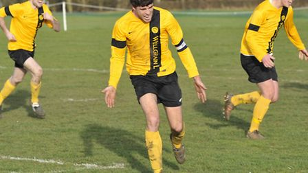 Action from Bluntisham Rangers v Hemingfords United in the Scott Gatty Cup. Picture: Helen Drake