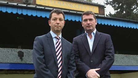 St Albans City FC Owners Lawrence Levy and John McGowan in front of the main stand at Clarence Park