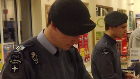 Air cadets pack bags at Royston Tesco