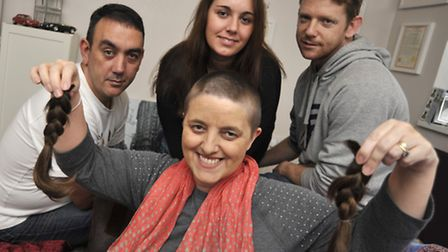 At her home in Huntingdon, is cancer sufferer Sonia Dyne, who did a charity head shave, with her fam