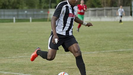 Goalscorer Dubi Ogbonna was flourishing in the black and white of St Ives. Picture: Louise Thompson