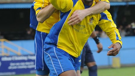 Mark Nwokeji celebrates after scoing for City against St Neots Town. Picture: Bob Walkley