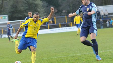 James Comley in action against St Neots Town. Picture: Bob Walkley