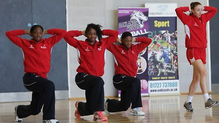 England Netball warm up during training at Oaklands College. Picture: Danny Loo