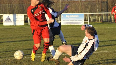 Declan Rogers playing for Huntingdon Town Reserves against ON Chencks last weekend. Picture: Helen D