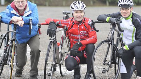 (From left to right) Cyclists Graham Temple, Tom Caldwell, from St Ives CC, and Richard Osler, from