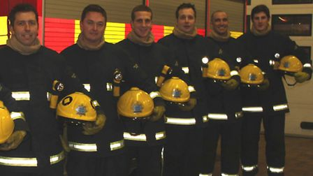 New on-call recruits (from left) Sean Bellamy, Kevin Hall, Perry Walton, Andrew Boughen, Stephen McC