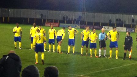 St Albans City line-up ahead of their match against AFC Totton at Clarence Park.