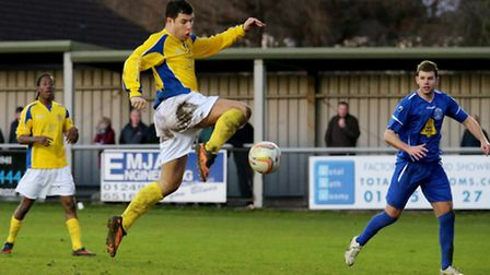 John Frendo pounces to open the scoring against Chippingham. Picture: Leigh Page