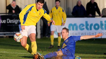 John Frendo is unable to guide the ball into the net. Picture: Leigh Page
