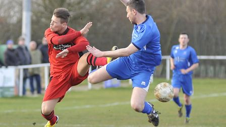 Declan Rogers was sent off against Cogenhoe - but not for this challenge. Picture: Helen Drake