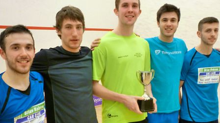 Nuffiled St Albans squash team with the Harry Faulkner Memorial Trophy.