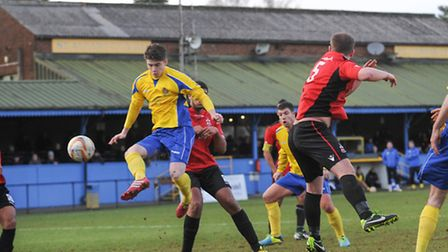 Elliot Bailey scores the winning goal against Redditch United. Picture: Bob Walkley