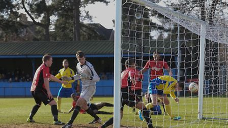 John Frendo scores the opening goal for St Albans City. Picture: Bob Walkley