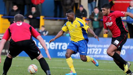 Chris Henry driving into the Redditch penalty area. Picture: Leigh Page