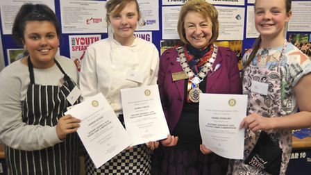 Rotary Young Chef Of The Year Competition, at Hinchingbrooke School, (l-r) Jasmine Butler from Hunt
