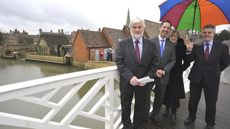 Environment Agency opening Godmanchester flood management works, (l-r) Chair of the Regional Flood &