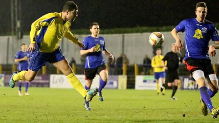 John Frendo has a shot at the Chippenham goal. Picture: Leigh Page