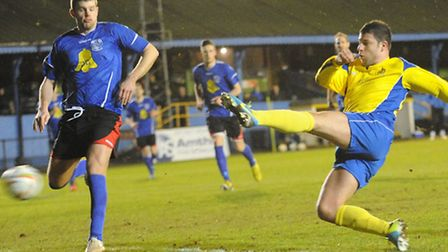 John Frendo scores the only goal of the game against Chippenham Town. Picture: Bob Walkley