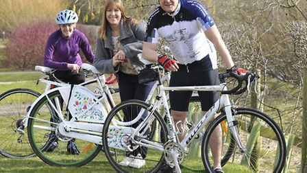 Move With Us staff, at St Ives, prepare for the Two Wheels For Woodlands charity cycle, (l-r) Kim Pe