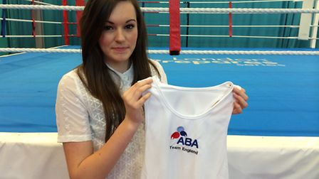 Shona Whitwell with the Team England vest for won for fighting for her country.