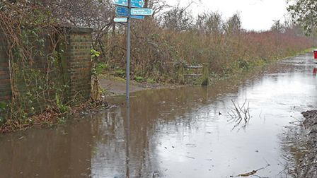 Flooding on the Alban Way in Smallford