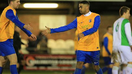 Reece Dobson is congratulated by Craig Hammond after scoring on his debut for Royston