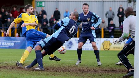 Darren Locke suffered a suspected fractured cheekbone against Arlesey Town. Picture: Leigh Page