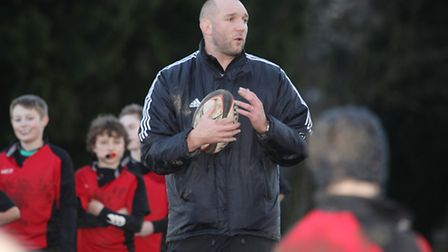 Former England Rugby Player Ben Kay during the coaching session at St Columba's College