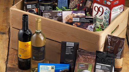 Selection of Fairtrade food and drink.