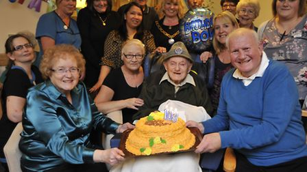 Hunters Lodge resident Harry Emery, celebrates his 103rd birthday, with (left) daughter Margaret Ard