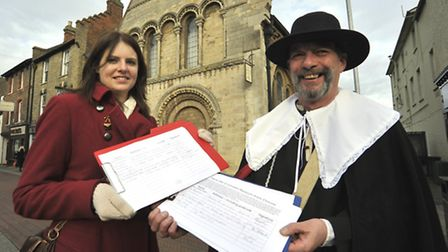 (From left-right) Trustee of Friends Of The Cromwell Museum Lindsay Cassedy and Bob Pugh with the pe