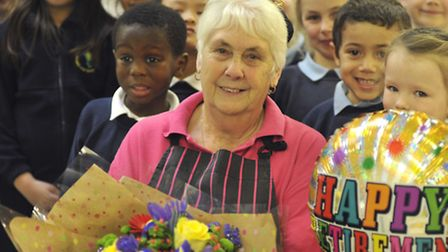 Dinner lady Eva Humphrey has retired after serving school meals for over 40 years.