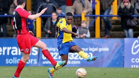 Chris Henry flies down the wing to put in a cross. Picture: Leigh Page