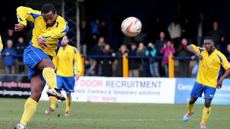 Mark Nwokeji is unable to direct his shot goalwards. Picture: Leigh Page