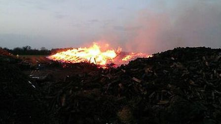 The fire in Hare Street, near Buntingford has consumed over 1,000 tonnes of timber