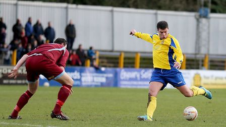 John Frendo was given a straight red card against Bideford so he will miss three games. Picture: Lei