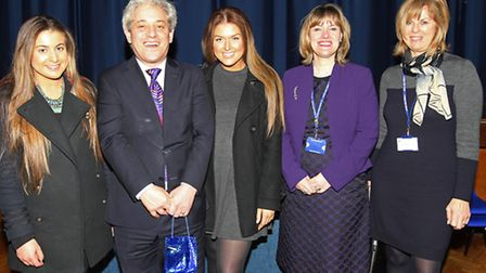 Year 12 pupil Charlotte Thompson, Speaker of the House of Commons John Bercow, Lucy Hayes, Head of S